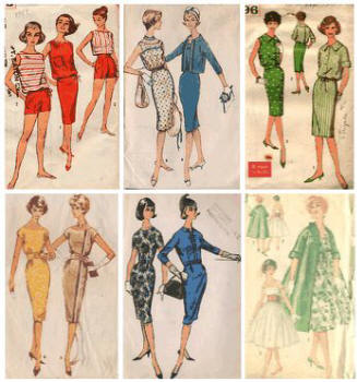 1959 beachwear patterns and the start of slim shift dresses, plus an all covering duster coat.
