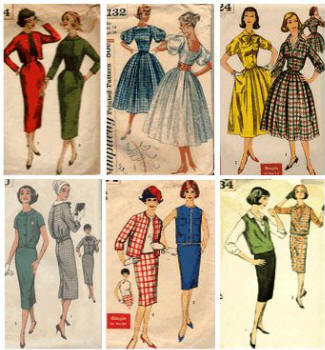 1959 old dress patterns showing full and new looser tops and straight styles as the decade progresses.
