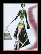 Sketch of woman wearing black evening coatdress and lime green shorts.