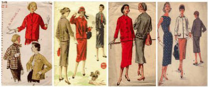Old sewing patterns showing suits and jackets of 1955.