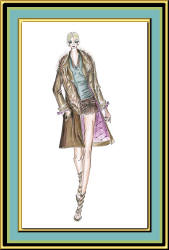 Fashion sketch by Mira of woman in a coat with coloured mauve lining.