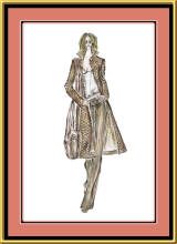 Fashion sketch by Mira of woman in a coat.