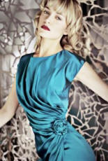 The teal blue evening Rose dress by Forever Marilyn from Mohina left looks very elegant and would suit no end of functions. �99