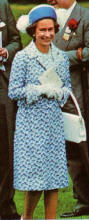 The Queen in blue patterned coat.