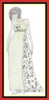Fashion sketch of straight evening dress with floral train .