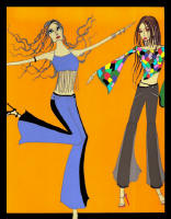 Fashion drawing of two women in flared trousers.