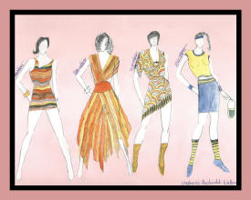 Fashion sketch of 4 women in various outfits.