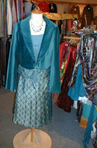 Noa Noa teal blue velvet jacket trimmed with matching teal brocade.
