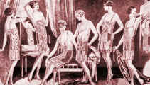 Drawing of 6 ladies in 1920's underwear. Costume history and fashion history 1920s