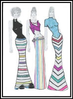 Fashion drawing of 3 woman in a mixed clinging  tops and striped skirts.