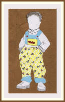 Toddler fashion drawing using nursery fashion textile prints by Vaishali Gandhi of India