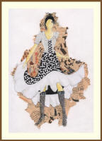 Fashion drawing using fashion textile prints by Vaishali Gandhi of India