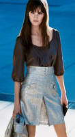 Warehouse - details - metallic high waist skirt �45/�70, blouse �38/�59, crop jacket �70/�110.
