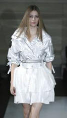 Silver metallic parka jacket from the Oasis Spring Summer 07 Catwalk Show