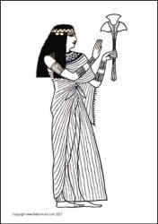 An ancient Egyptian priestess in costume of the day. Colouring in picture for school use.