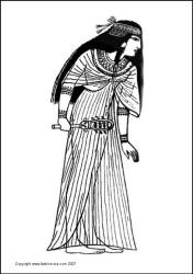 Pretty ancient Egyptian woman Thuthu - line drawing colouring in picture sketch.