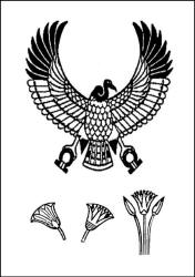 Egyptian pattern lotus flower and vulture colouring in line drawing