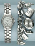 A traditional link watch easily worn together with a silver tone charm bracelet.  Both items from NEXT Directory.