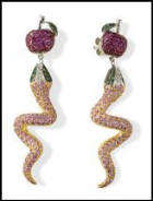 Beautiful gemstone apple and serpent earrings.