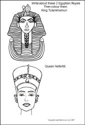 King Tut and Queen Nefertiti - Ancient Egyptian King and Queen - Colouring-in Picture Line Drawing Head and Mask.