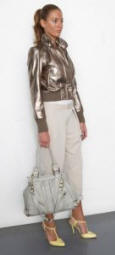 River Island Clothing Co. Ltd, Metallic Leather Bomber �120/�201.50,  Roll Up Pants �32.99/�55.50, Lemon T-Bar Sandals �49.99/�84, Grey Leather Handbag �100/�168.