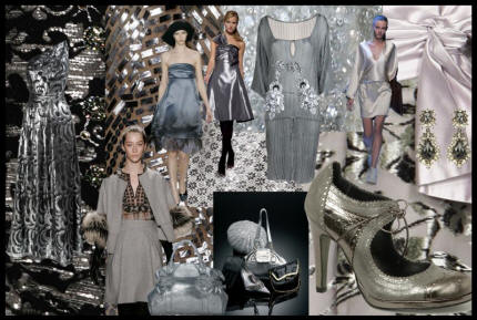 Mood board with silver looks for in the Fall 2007/8 fashion colour palette.