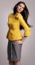 Principles - Yellow 3/4 sleeve jacket �45 and chocolate bow linen pleat skirt �37.
