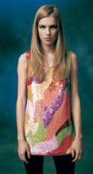 Topshop multi-coloured flame sequin vest �55/�80, Black opaque tights �6/�9