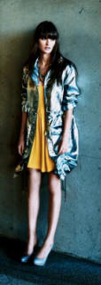 Yellow dress with silver parka dress �25/�40, parka �90/�140, bag �32/�49 and all from Warehouse Spring/Summer 2007 ladies fashion wear.