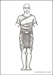 Egyptain warrior dress line drawing for colouring.