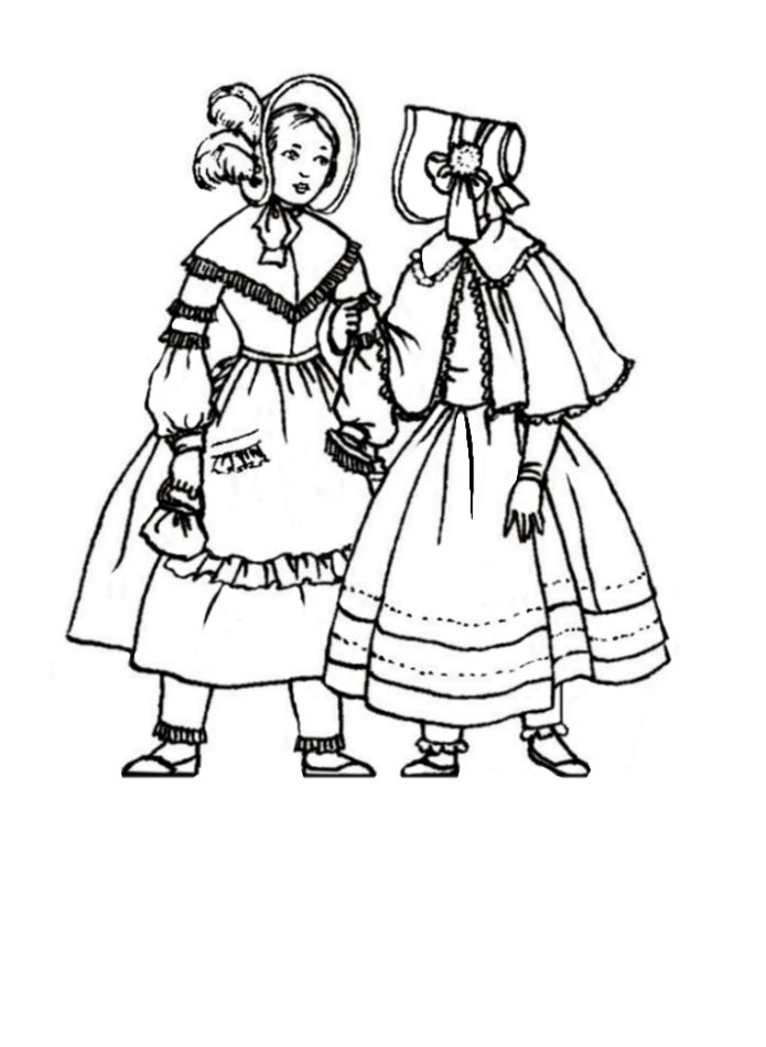 children in costume history 1840 1850 romantic fashions for girls 1920s Bitches girls in bonnets 1845