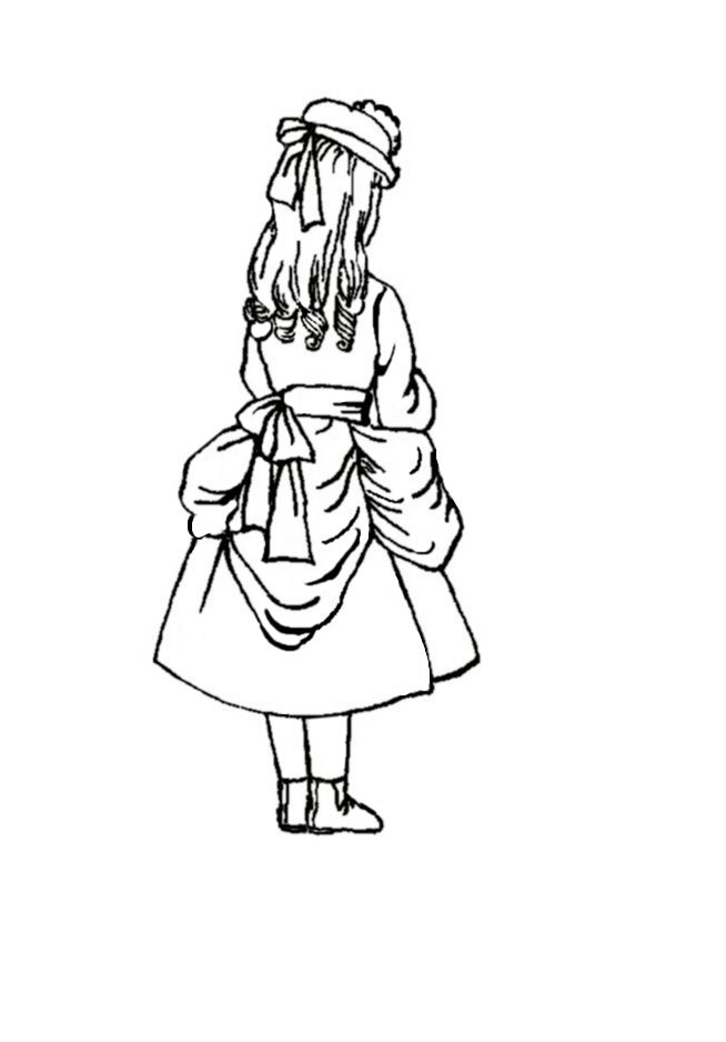 Picture of 1875 young girl wearing a soft bustle style dress