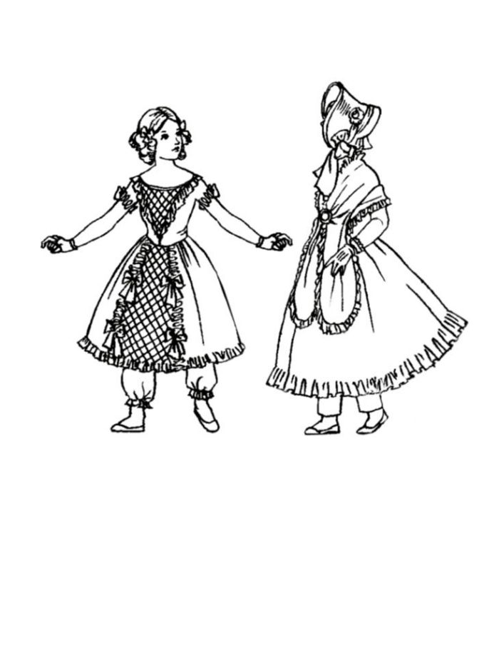 children in costume history 1830 to 1840 romantic childrens fashions 1960s Party Dresses 1835 colouring in picture of children s costume