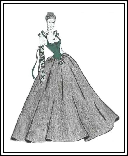 Fashion Gown Drawing Fashion Drawing of Woman in a