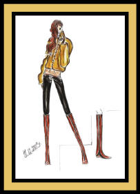 Fashion drawing of woman in boots