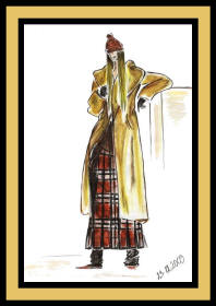 Fashion drawing woman in coat