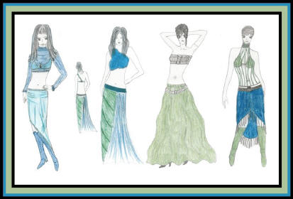 Fashion drawing of women in modern outfits