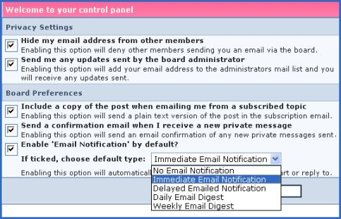 Fashion-era.com forum screenshot of email settings.