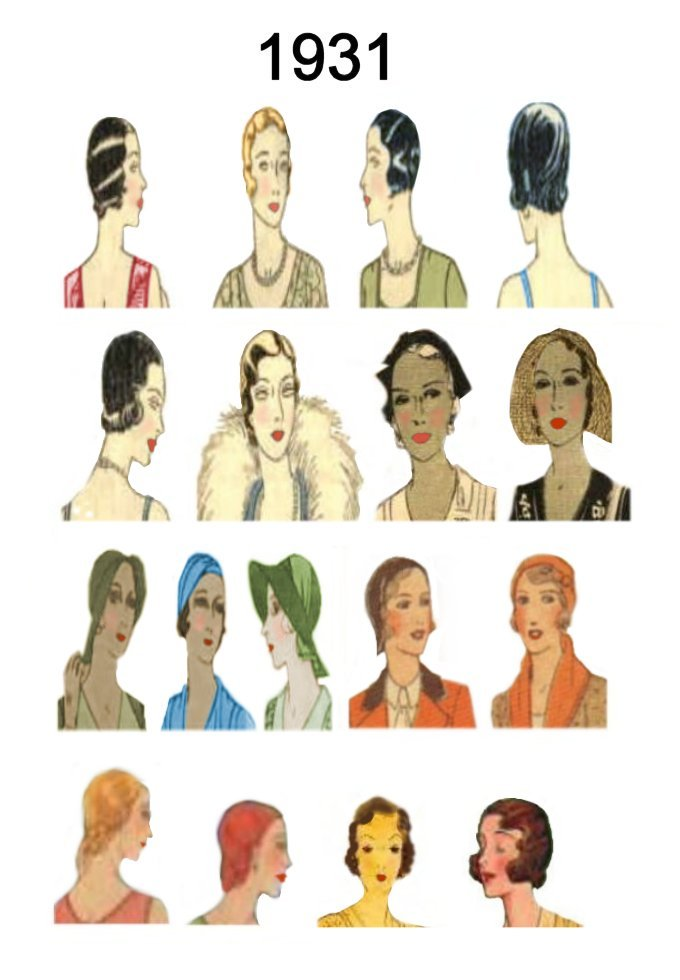 hairstyles and hats. 1936, 1937, 1938 and 1939 are further down the