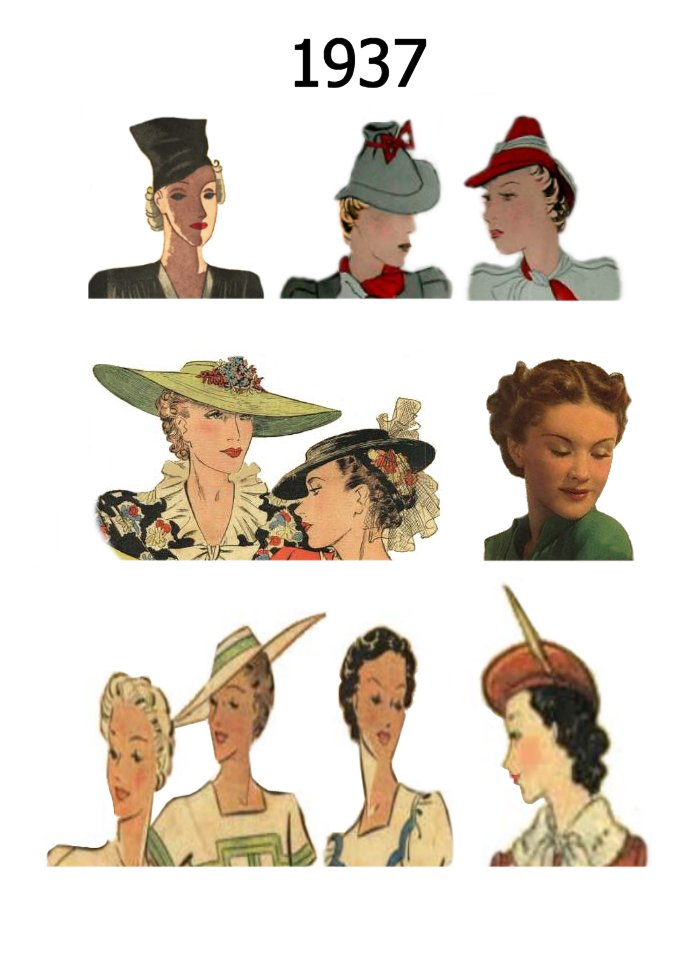Awesome Hat And Hair Styles Fashion History 1930 1940 Short Hairstyles Gunalazisus