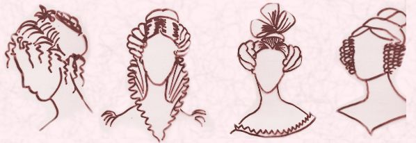 These hairstyles complimented simple empire line dress of the period