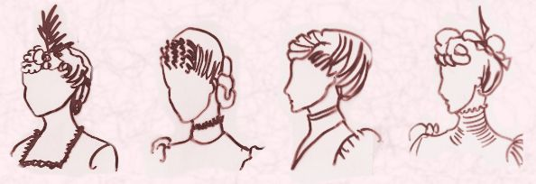 Ladies hair styles -1872, 1878, 1879 and 1883