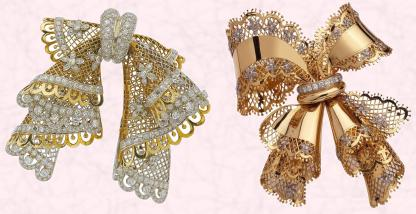 Van Cleef & Arpels shimmering gold lace Clip Dentelle - 1949 and to the right - Van Cleef & Arpels Noeud Dentelle a gold lace clip -1945.