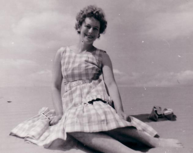 Picture Of A Woman On The Beach Wearing 1950s Style Dress Costume History And
