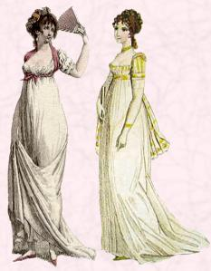 White Muslin Empire Style Dresses.