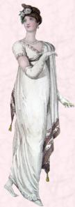 Early Regency Gown - White Muslin Dress - 1807 - Border