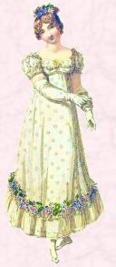 Shorter flared style of 1815-17 - Regency styles of dress fashions.