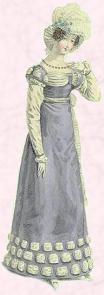 Regency Gown - Blue semi opaque sleeved dress 1819