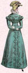 Regency Dress - Sea green gown 1822.