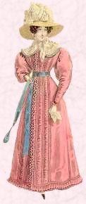 Pink dress of 1824. Note the fuller sleeves styles of early gigot sleeves.